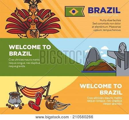 Brazil travel landmarks and famous tourism sightseeing for welcome tourist banners. Vector Brazilian flag and coffee, Christ Redeemer on Corcovado in Rio de Janeiro, samba carnival dancer