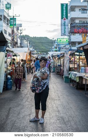 Hua Hin Night Market With Woman And The Dog