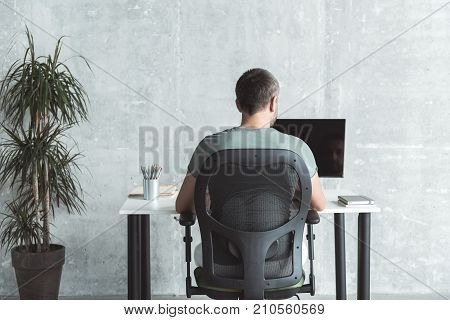 Involved in project. Back view of professional young employee is sitting at table and working on computer with concentration. Gray wall in background