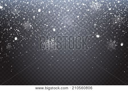 First snow. Realistic falling snowflakes isolated on transparent background. Winter decoration element for your christmas design. Vector illustration.