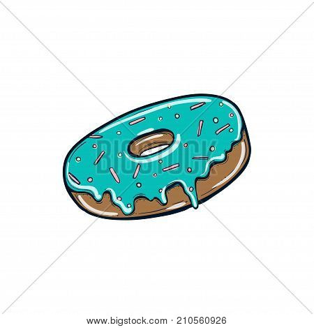 Donut with mint icing. Logo for cafes, restaurants, coffee shops, catering. Design element for menu, booklet banner website. Vector illustration. Vector isolated on white background