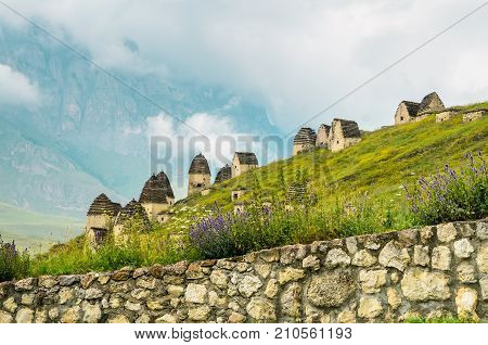 Picturesque view of crypts of City of the Dead in republic of North Ossetia, Russia