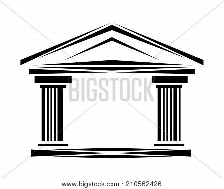 Roman classical arch logo facade ionic logo icon. Simple illustration of arch with columns wit copy space logo icon for web or print design