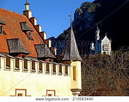 Neuschwanstein on the Hillside as Seen from the Terrace of Hohenschwangau , Bavaria, Germany