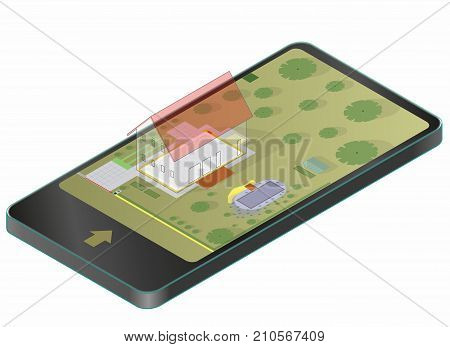 Garden project at family home in plan in mobile phone. Project of garden includes swimming pond, fruit trees, shrubs, driveway, greenhouse. Planning of garden in communication technology.