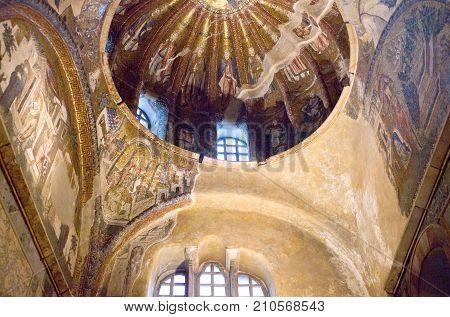 ISTANBUL, TURKEY - OCTOBER 31, 2015: Interior of the Church of the Holy Saviour in Chora, or Kariye Camii