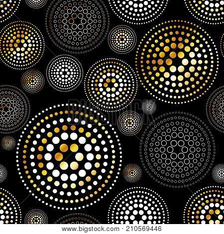 Gold Splash Or Glittering Spangles Seamless Pattern. Glitter Texture. Golden Blobs Or Uneven Spots O