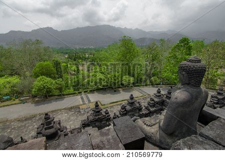 Ancient ruins of the Prambanan temple view of the mountains in Yogyakarta
