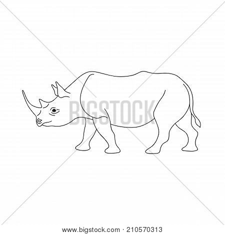 Isolated black outline monochrome rhinoceros on white background. Curve lines. Page of coloring book. Side view of rhino