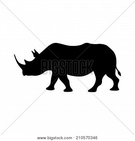 Black isolated silhouette of rhinoceros on white background. Side view of rhino