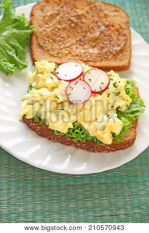 Creamy egg salad with radishes and chives on whole wheat bread spread with deli mustard