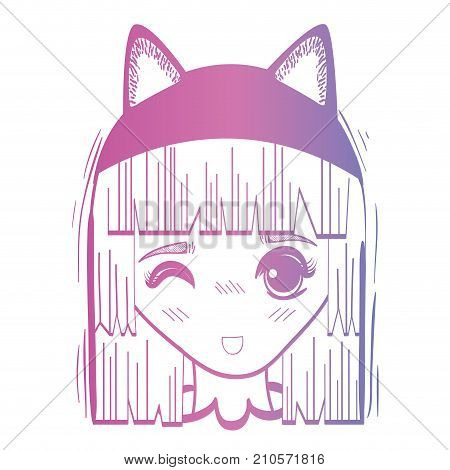 line anime girl head with custome and hairstyle vector illustration