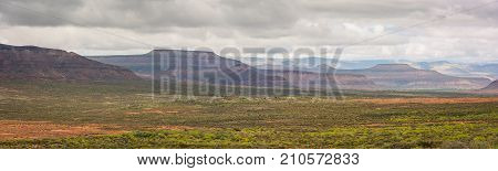 Panoramic view of the mountains in the arid Karoo region of South Africa