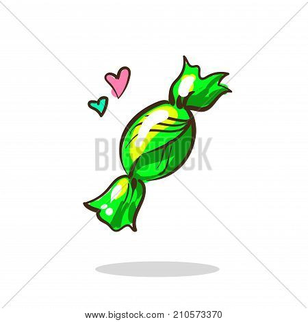 Green candy sugar drop in a wrapper green color. Vector illustration isolated on white stock art