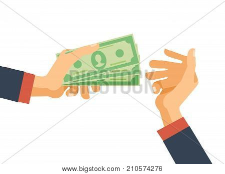 Hands hold cash money, financial bills. Concept of financial operations with cash, investments and savings, deposits, money turnover, funding, bribe, donation, payday. Vector illustration isolated
