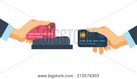 Hands holding credit plastic cards, and is used in the payment device of terminal. Concept of financial operations, transactions, investments and non-cash money turnover. Vector illustration isolated.