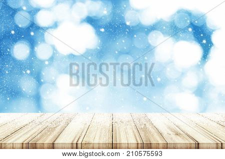 Christmas And New Year Background. Wooden Table With Abstract Winter Snowfall. Can Be Used Product D