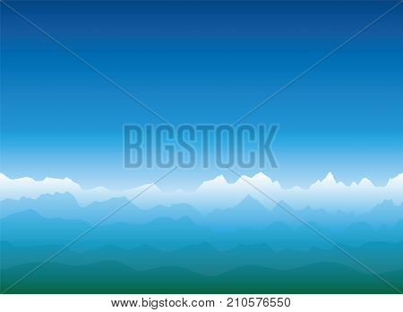 Mountain horizon with white snow covered glaciers, blue mountains and green hills, a vast and misty landscape - vector on blue gradient background - seamless expandable in both directions.