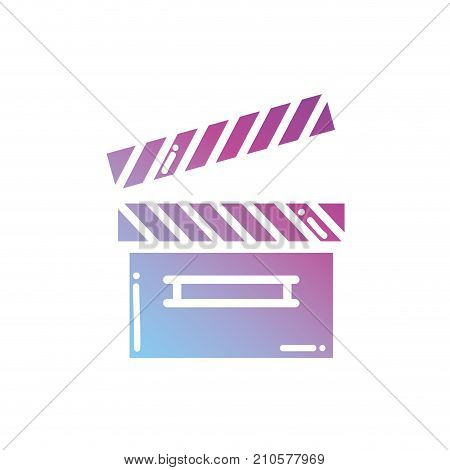 contour clapperboard object to short film vector illustration