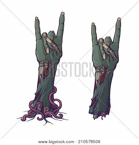 Zombie body language. Sign of the horns. lifelike depiction of the rotting flash with ragged skin, protruding bones and cracked nails. Painted linear drawing isolated on white background. EPS10 vector