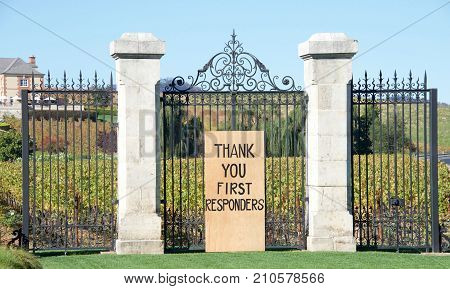 Napa CA - October 22 2017: THANK YOU FIRST RESPONDERS sign for first responders who put their lives on the line during the North Bay Firestorm. Sign in front of the Domaine Carneros winery.