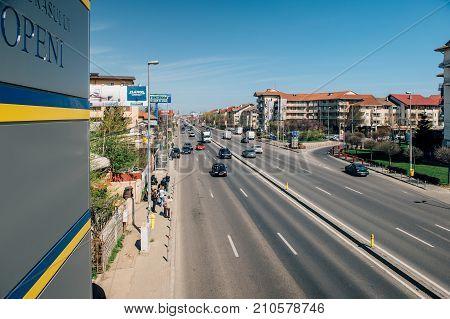 BUCHAREST ROMANIA - MAR 31 2016: Bucharest-Ploiesti national route seen from a pedestrian bridge
