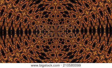 Abstractorange background of a kaleidoscope consisting of particles. Colorful 3d rendering backdrop