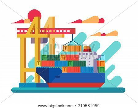 Loading vessel in port. Crane loads container on ship. Vector illustration
