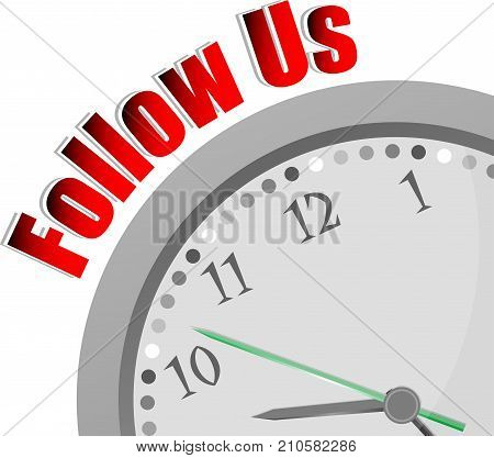 Text Follow Us. Social Concept . Color Word And Modern Clock On White