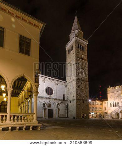 St. Mary church in the night, Tito square, Koper, Slovenia SLO