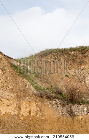 background of rocks from clay and stone after a landslide .