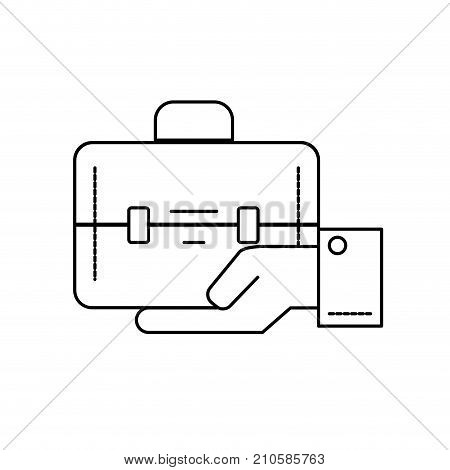 line businessman with briefcase portfolio in the palm hand vector illustration