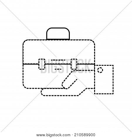 dotted shape businessman with briefcase portfolio in the palm hand vector illustration