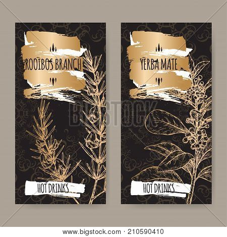 Set of two black labels with Rooibos aka Aspalathus linearis and Yerba mate aka Ilex paraguariensis branches with leaves and flowers. Hot drinks collection. Great for cafe, bars, tea ads.