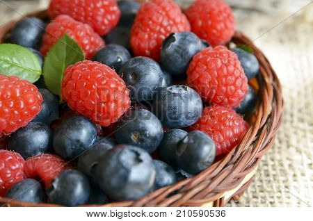 Fresh organic blueberries and raspberries. Freshly picked raspberries and blueberries in a basket on a burlap cloth background.Blueberry and raspberry.Healthy eating,diet concept.Selective focus.