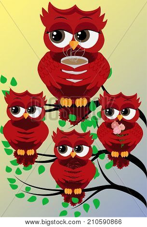 Four red cute flirtatious owls on branches, with roses, with a cup of steaming coffee, tea or chocolate