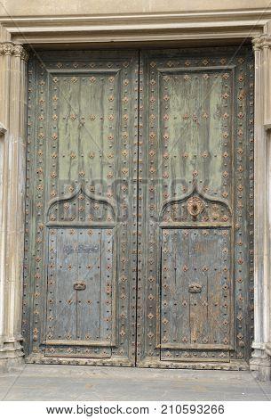 Wooden Green Door