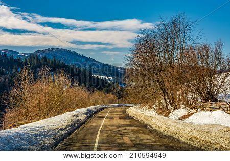 Winding Serpentine In Winter Mountains