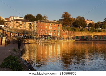 Exeter England 22 October 2016: Evening at Exeter Quay. Boys are fishing