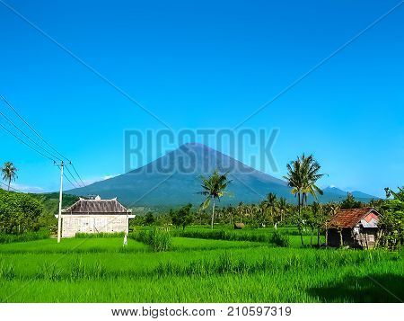 Agung volcano is the highest mountain on Bali island, Indonesia. It is still active and located near Amed -- a small village on the northeast of Bali.