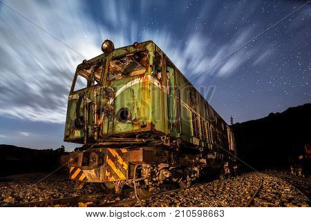 Old Electric Locomotive At Night In Rio Tinto, Huelva, Spain
