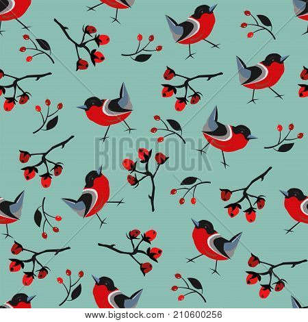 Bird Seamless Pattern. Bullfinch birds on a modern red background with red berries of rowan and brier. Winter/Merry Christmas Collection.Vector Illustration.