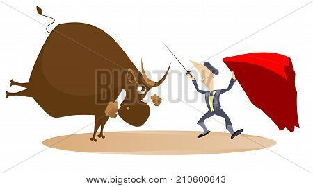 Bullfighter with a sword and the bull illustration. Bullfighter and a bull isolated
