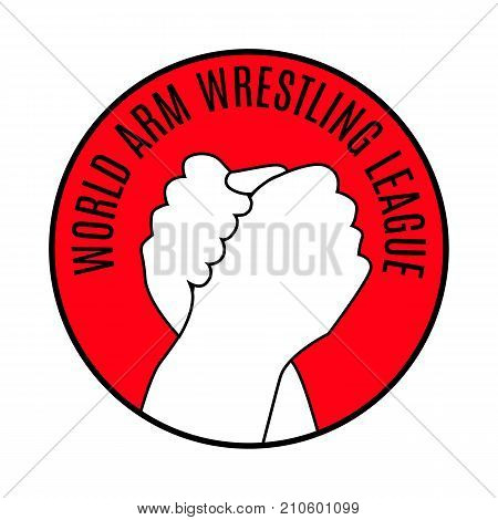 Two hands icon in arm wrestling red round medal. Flat simple sign style line art. Outline symbol with stylized image of a gesture hand of a human greeting armwrestling. Vector illustration