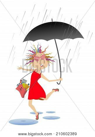 Woman with umbrella jumping over the puddles isolated. Smiling woman with umbrella and fancy bag jumping over the puddles under the rain