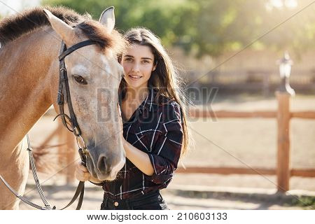 Portrait of posh and beautiful long haired young woman taking care about a horse on a ranch. Sunny summer day outside.