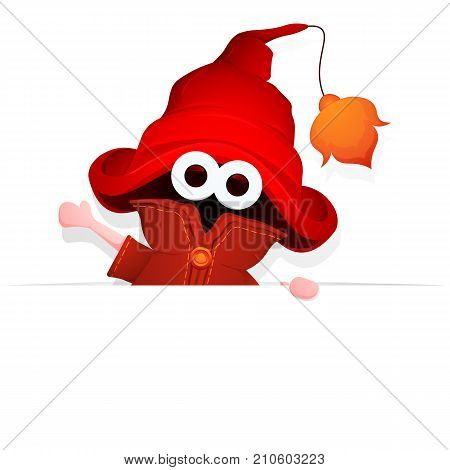 Wizard hold blank banner. Friendly magic little man in big magician hat with arm in a welcoming gesture. Vector illustration.