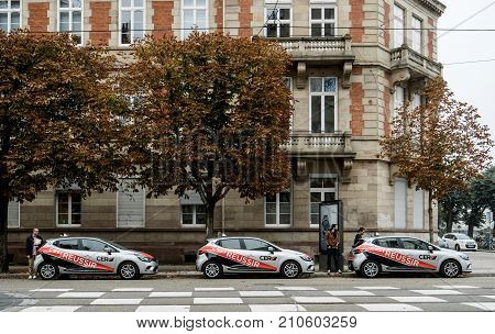 STRASBOURG FRANCE - SEP 25 2017: Cars from French driving license school with students and instructors preparing for in-car instruction