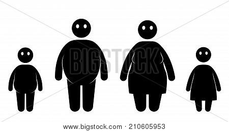 Fat big weight people icon set. Overweight problem. Unhealthy woman man girl and boy. Vector illustration.