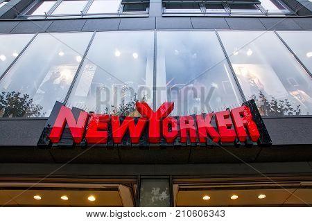 New Yorker Clothing Store Sign Stuttgart Koenigsstrasse Daytime Overcast Shopping Season October 24